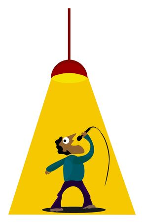 Clipart of a man in blue and purple costume singing a song under a powerful stage yellow light  vector  color drawing or illustration