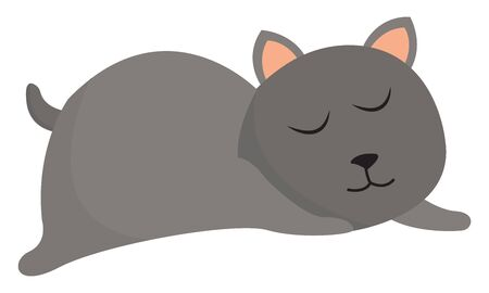 Clipart of a grey cat with peach-colored ears eyes closed while sleeping on the floor   vector  color drawing or illustration