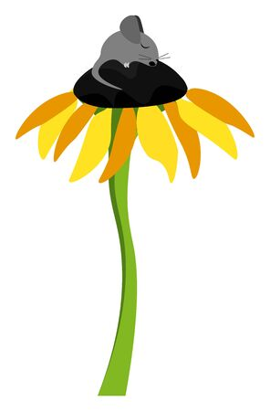 Clipart of a cute little black mouse sleeping on the floral disc of a tall sunflower plant with a long slender green stalk vector color drawing or illustration
