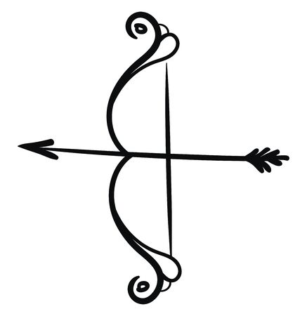 Silhouette of bow and arrow that stands upright and ready to be shot by a bowman  vector  color drawing or illustration