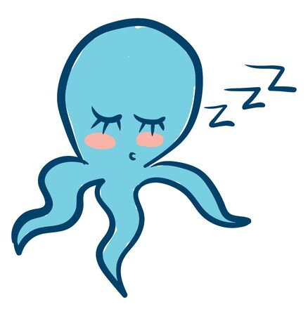 Clipart of a blue-colored octopus with trailing tentacles and eyes closed snores while sleeping in the seated posture  vector  color drawing or illustration