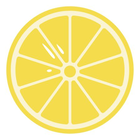Cartoon sliced pale yellow circular lemon that would yield a total of ten prepped lemon wedges with few seeds exposed  vector  color drawing or illustration Ilustração