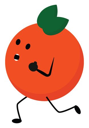 Emoji of orange fruit with two oval green leaves topped at its head mouth wide opened and with its stick feet running in dismay vector color drawing or illustration
