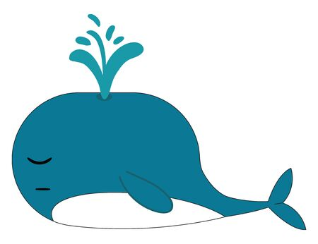 Clipart of a blue-colored whale with a streamlined body and a paddle-shaped tail snores while sleeping  vector  color drawing or illustration