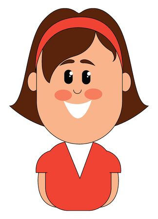 Clipart of a small smiling girl in a red and white colored gown wears a red hairband in her cropped hair and her hands along the sides of her body  vector  color drawing or illustration