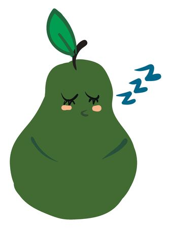 Clipart of a green-colored pear topped with a short brown stalk and a single leaf with its eyes closed snores while sleeping vector color drawing or illustration