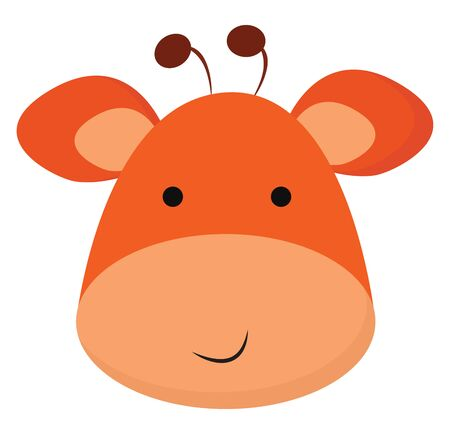 Clipart of the face of a smiling giraffe in orange and peach colors has two small horns  vector  color drawing or illustration