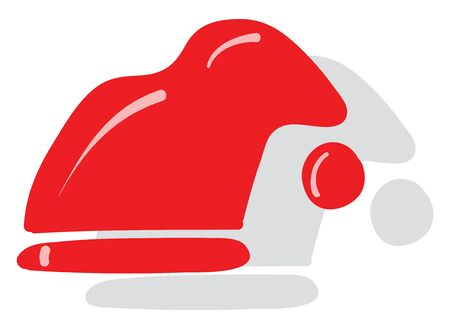 Clipart of a snowman hat in red and white colors is with few white-colored exclamation marks and sits in the counter ready to be picked by someone  vector  color drawing or illustration