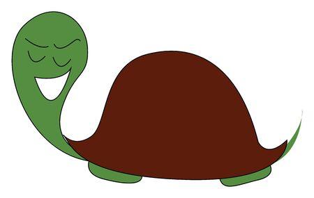 Clipart de una tortuga verde sonriente con caparazón o escudo de color marrón oscuro y cabeza verde con los ojos cerrados está sonriendo mientras se arrastra el color de dibujo o ilustración vectorial