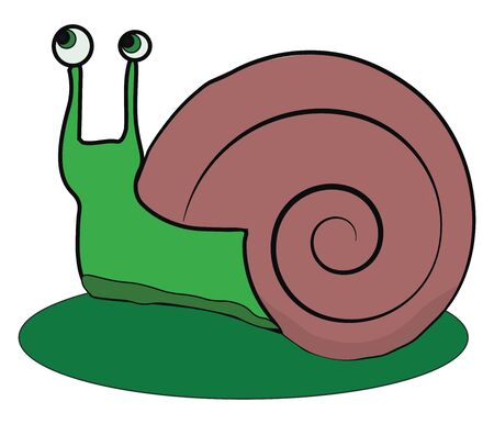 A cute little cartoon snail with two bulging eyes rolled left-up with a dark rose spiral shell crawling on a dark green leaf  vector  color drawing or illustration