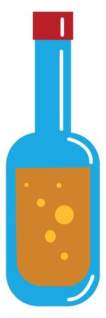 A blue-colored bottle filled with the soft drink  soda  represented in brown color along with few yellow bubbles trapped inside covered with a maroon screw cap  vector  color drawing or illustration