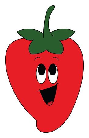 Emoji of a smiling red strawberry topped at its center with a small green stalk has two oval eyes rolled up and laughing with its mouth wide open  vector  color drawing or illustration