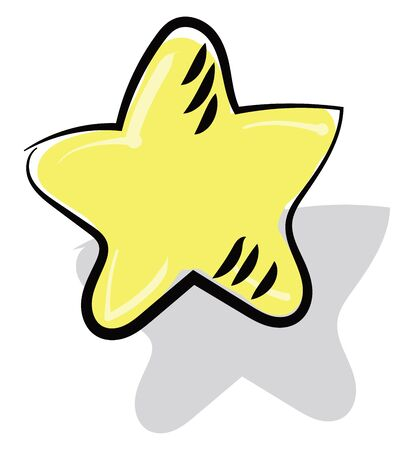 Painting of a yellow-colored star with black and white eye-catchy designs stands as its shadow fallen behind  vector  color drawing or illustration