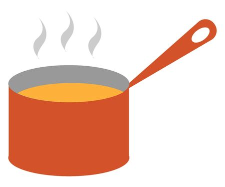 Clipart of steaming yellow-colored soup made by boiling meat  fish  or vegetables from a giant red saucepan provided with a handle is ready to be tasted  vector  color drawing or illustration Ilustração