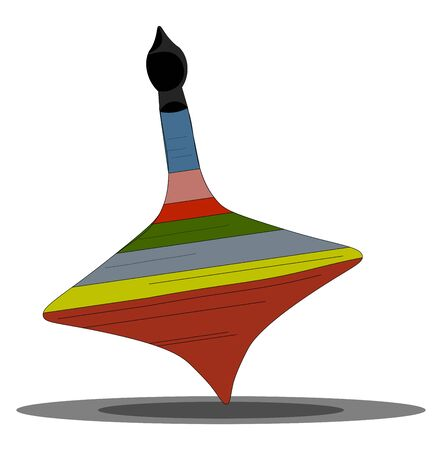 A conical and pear-shaped spinning toy set to spin has a quick or vigorous twist on the floor  vector  color drawing or illustration  イラスト・ベクター素材