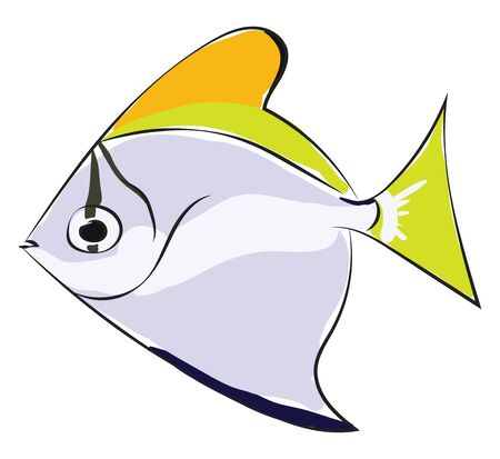 Clipart of a Swallow fish that has a bright shiny silver and sickle-shaped body with yellowish edges to the fins vector color drawing or illustration