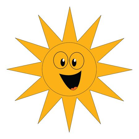 Clipart of a laughing yellow sun with eyes and tongue stuck out has few spikes surrounding the inner circular disc  vector  color drawing or illustration