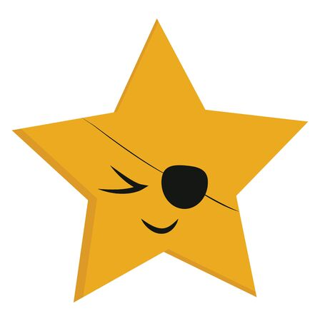 Emoji of a five-pointed yellow star smiling with an eye covered with an eyepatch  vector  color drawing or illustration