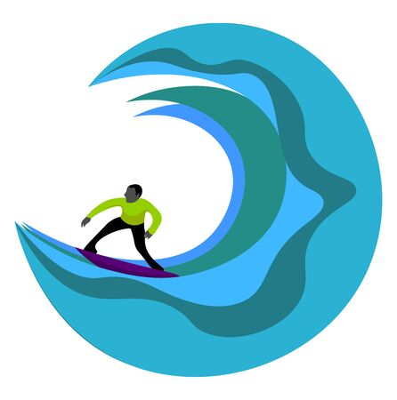 Portrait of a surfer in green costume rides the wave towards the shore while standing on a surfboard  vector  color drawing or illustration