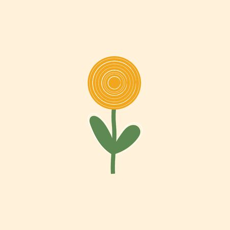 Clipart of a sunflower plant that bears one flower head with bright yellow ray coiled florets on a green-colored slender stalk that has two leaves  vector  color drawing or illustration