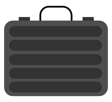 Black colored suitcase provided with metal trim  hinges  and a handle typically used by businessmen to carry the necessary documents  vector  color drawing or illustration Ilustração