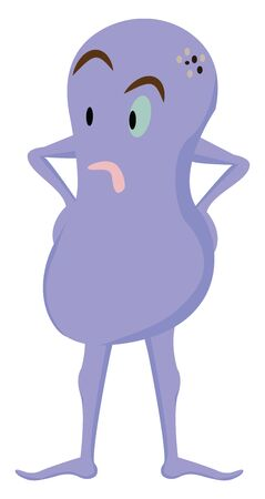 Clipart of a purple-colored monster body in the shape of number eight and hands resting on its hips looks surprised while standing  vector  color drawing or illustration