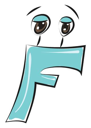 A blue-colored figurine representing the alphabet F with designs has two eyes vector color drawing or illustration