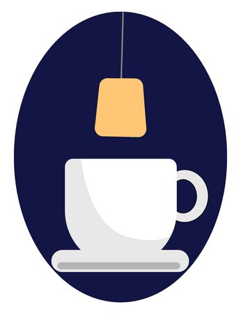 A brown-colored tea bag about to get dipped in a white teacup with a saucer over blue background  vector  color drawing or illustration