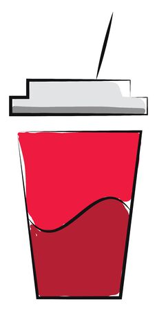 A cup of juice in a red-colored disposable plastic red party cup with white-colored lid and straw  vector  color drawing or illustration Çizim