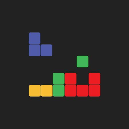 Clipart of a tile-matching puzzle video game in blue  green  yellow and red cubes set over a black background  vector  color drawing or illustration