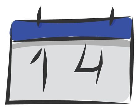Spring clipart blue-colored calendar displaying the date as 14  vector  color drawing or illustration