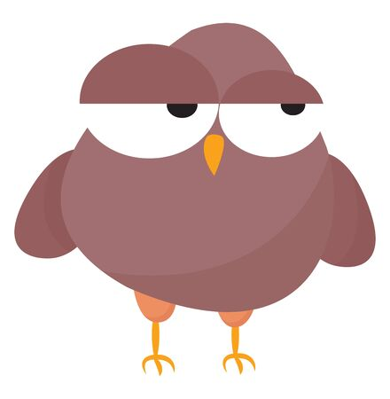 Emoji of a rose-colored owl with two bulging eyes rolled left  yellow feet and curved stout beak looks weary while standing  vector  color drawing or illustration