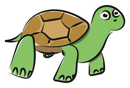 Emoji of a surprisingly looking slow-moving tortoise land reptile  enclosed in a scaly domed brown shell has two eyes and thick legs while standing  vector  color drawing or illustration 일러스트