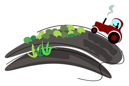 Painting of a red-colored tractor spitting out smoke through the front exhaust system and traveling along the sloping road with few shrubs and short plants   vector  color drawing or illustration Ilustração