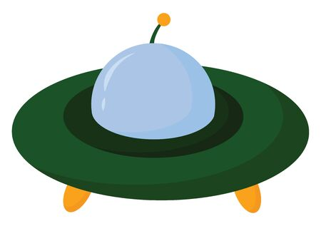 A dome-shaped alien spacecraft in blue  green  orange and yellow colors with a white exclamation mark is all set ready for carrying extraterrestrials  vector  color drawing or illustration