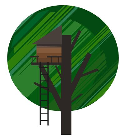Portrait of a treehouse constructed with a brown ladder built in the branches of a tree for children to play in  vector  color drawing or illustration