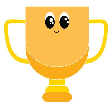 Emoji of a golden decorative cup provided with handles stands smiling as to be awarded to honor a person for his victory or success  vector  color drawing or illustration