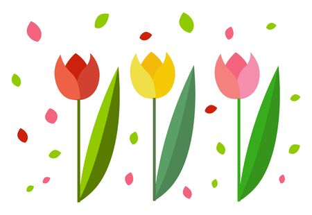 Clipart of three beautiful tulips in three different colors red yellow and rose each with a slender stalk bearing a single elongated oval leaf vector color drawing or illustration