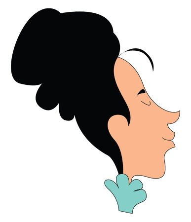 Clipart of a woman dressed in blue with eyes closed has an elongated face and her hair swept up and secured at the back of the head  vector  color drawing or illustration Stock Illustratie