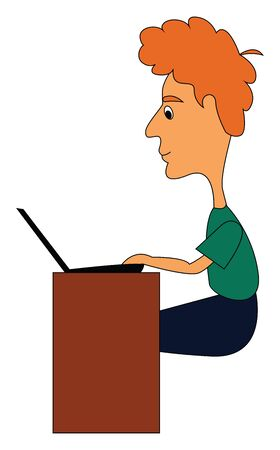 An officer in a green shirt  a blue pant and few strands of his orange hair tied up together sitting before the laptop and working in his office hours  vector  color drawing or illustration