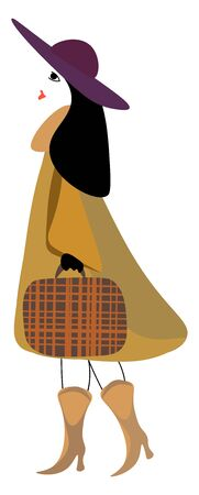 A stylish woman in a brown costume  purple summer hat  high heeled boots  has black hair and carries a brown briefcase with checkered designs while walking  vector  color drawing or illustration Ilustração