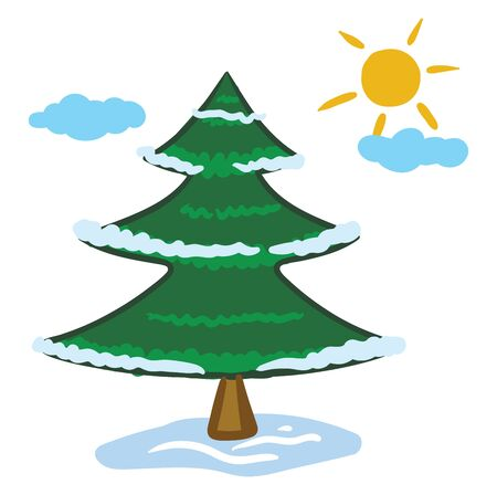 Clipart of a widespread coniferous green tree with a distinctive conical shape and hanging cones  reach high up the sky with few clouds and a rising sun  vector  color drawing or illustration Ilustração