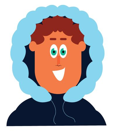 Clipart of a man who has covered his head in a winter blue jacket with green pupils is laughing  vector  color drawing or illustration