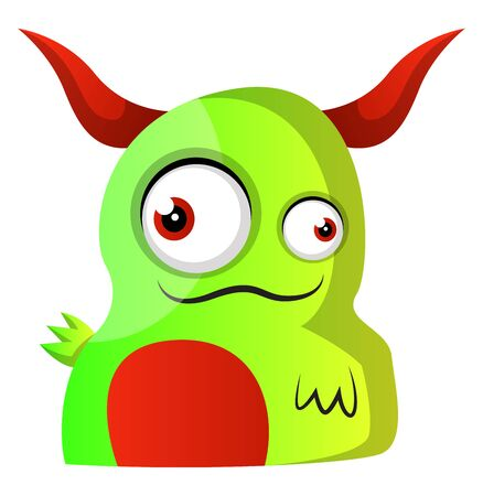 Green monster with red horns illustration vector on white background