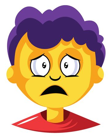Young boy with purple hair is depressed illustration vector on white background