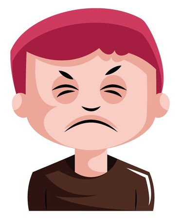 Man with red hair is very irritated illustration vector on white background Illustration