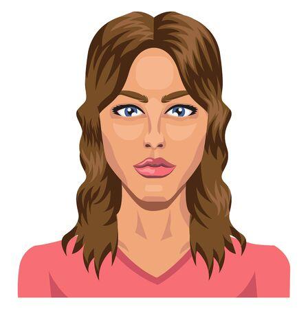 Beautifull brunette with blue eyes illustration vector on white background Vetores