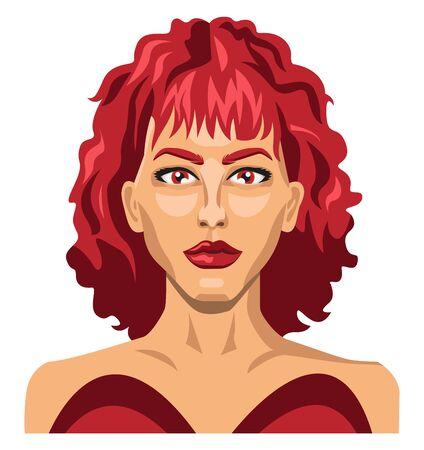 Sexy girl with red hair illustration vector on white background