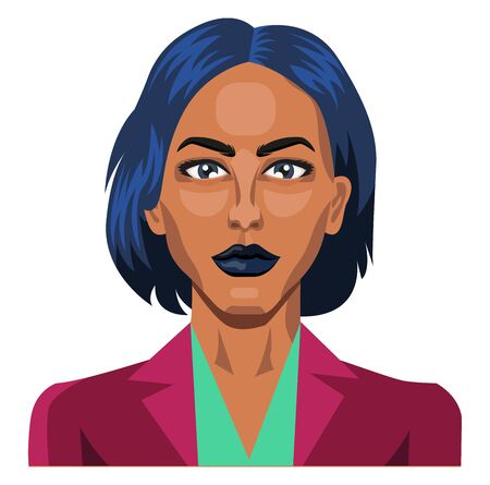 Pretty girl with short blue hair illustration vector on white background