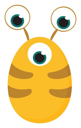 Clipart of yellow-colored monster with an oval-shaped body and three bulging eyes  vector  color drawing or illustration
